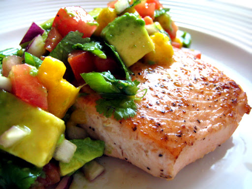 Mango Salad Avocado and Salmon